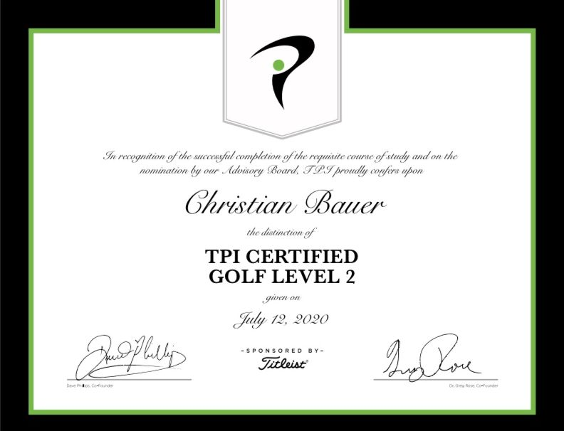 TPI Certified Golf Level 2 - Christian Bauer